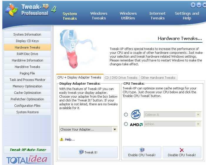 Tweak XP Pro 4.0.9 - Мощный пакет утилит для Скачать бесплатно Tweak XP